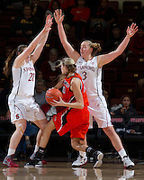 STANFORD, CA - December 15, 2012: Stanford Cardinal's  Sara James and Mikaela Ruef during Stanford's 78-43 victory over Pacific at Maples Pavilion in Stanford, California.