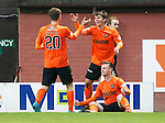 Dundee United v St Johnstone....21.11.15  SPFL,  Tannadice, Dundee<br /> Billy McKay celebrates his goal with Charlie Telfer and Balir Spittal<br /> Picture by Graeme Hart.<br /> Copyright Perthshire Picture Agency<br /> Tel: 01738 623350  Mobile: 07990 594431