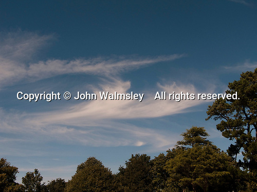 High cirrus clouds above the Isle of Wight, Hampshire.