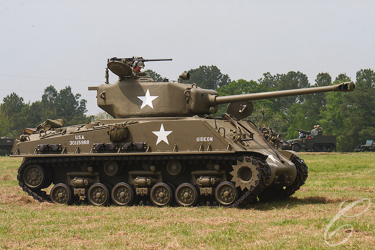 Reenactors showcase World War II tanks, half-tracks and support vehicles during the Museum of the America G.I.'s annual Open House on March 29, 2008 in College Station, Texas. An American M4 Sherman.