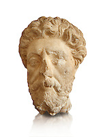 Roman sculpture of the Emperor Marcus Aurelius, excavated  from Carthage made circa 161-180 AD. The Bardo National Museum, Tunis, Inv No: C.965.  Against a white background.