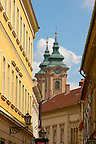 Baroque street with the towers of the Minorite Church - Eger Hungary