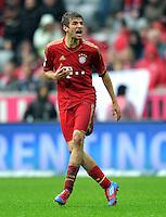 FUSSBALL   1. BUNDESLIGA  SAISON 2011/2012   27. Spieltag FC Bayern Muenchen - Hannover 96       24.03.2012 Thomas Mueller (FC Bayern Muenchen)