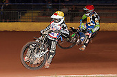 Heat 10: Mike Burman (yellow) ahead of Barrie Evans - Hackney Hawks vs Team America - Speedway Challenge Meeting at Rye House - 09/04/11 - MANDATORY CREDIT: Gavin Ellis/TGSPHOTO - Self billing applies where appropriate - Tel: 0845 094 6026