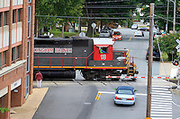 A Buckingham Branch train rolls down the tracks thru the City of Charlottesville.  Photo/Andrew Shurtleff