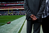 Houston, Texas<br /> October 2, 2011<br /> <br /> Greeting friends of the opposing team before the game, general manager and first as executive vice president, Rick Smith oversees all aspects of football operations. Smith has strengthened Houston's roster through the draft, free agency and several trades at key positions.<br /> <br /> The Houston Texans defeated the Pittsburgh Steelers at the Reliant Stadium 17 to 10.