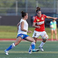 Western New York midfielder Angela Salem (6) collects ball that Boston Breakers forward Amanda DaCosta (5) was unable to control. In a Women's Premier Soccer League Elite (WPSL) match, the Boston Breakers defeated Western New York Flash, 3-2, at Dilboy Stadium on May 26, 2012.