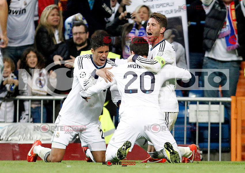 Real Madrid's Raphael Varane, Gonzalo Higuain, Sergio Ramos celebrate goal  during the quarter final Champion League match. April 3, 2013.(ALTERPHOTOS/Alconada)