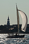 Sailboats racing in Charleston South carolina harbor