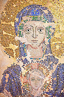 14th Century Mosaic of the Virgin Mary & Child from the Zen Chapel  of the  Basilica San Marco ( St Mark's Basilica ) Venice, Italy