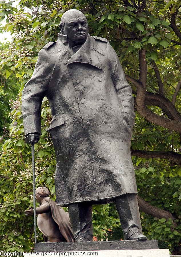Statue of Winston Churchill with Lloyd George in the ...