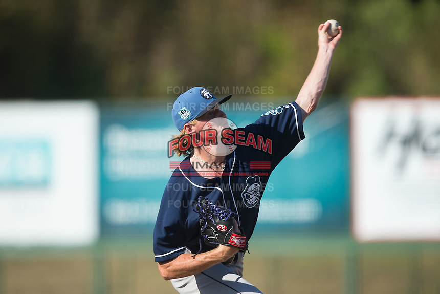 Asheville Tourists starting pitcher Sam Howard (32) delivers a pitch to the plate against the Kannapolis Intimidators at Intimidators Stadium on June 28, 2015 in Kannapolis, North Carolina.  The Tourists defeated the Intimidators 6-4.  (Brian Westerholt/Four Seam Images)