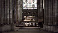 Funerary Monument of The Dukes of Orleans, Louis, Duke of Orlv©ans (1372 - 1407), Valentine Visconti his wife, and their sons Charles the Poet (1394 - 1465) and Philip (1396 - 1420), origine Church of the Celestins (Paris), Abbey church of Saint Denis, Seine Saint Denis, France. Picture by Manuel Cohen