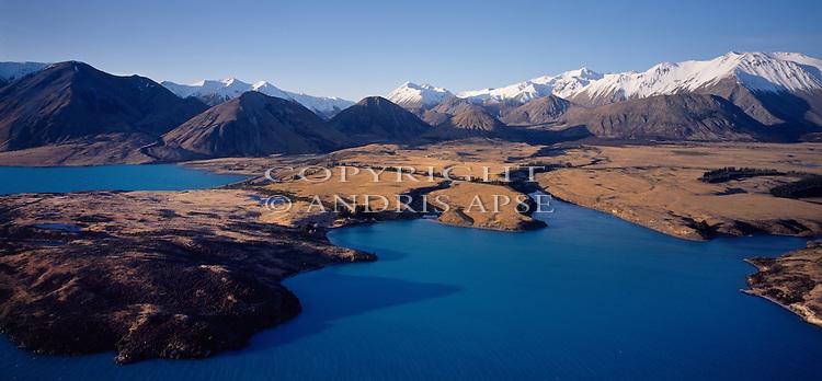 Aerial view of Lake Coleridge. Canterbury Region. New Zealand.