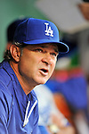 8 September 2011: Los Angeles Dodgers Manager Don Mattingly sits in the dugout prior to a game against the Washington Nationals at Nationals Park in Washington, DC. The Dodgers defeated the Nationals 7-4 to take the third game of their 4-game series. Mandatory Credit: Ed Wolfstein Photo