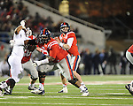 Ole Miss quarterback Bo Wallace (14) passes vs. Mississippi State at Vaught-Hemingway Stadium in Oxford, Miss. on Saturday, November 24, 2012. Ole Miss won 41-24.