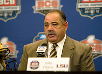 LSU defensive coordinator John Chavis talks with the reporters during the LSU Defensive Press Conference at Marriott Hotel at the Convention Center on January 5th, 2011.