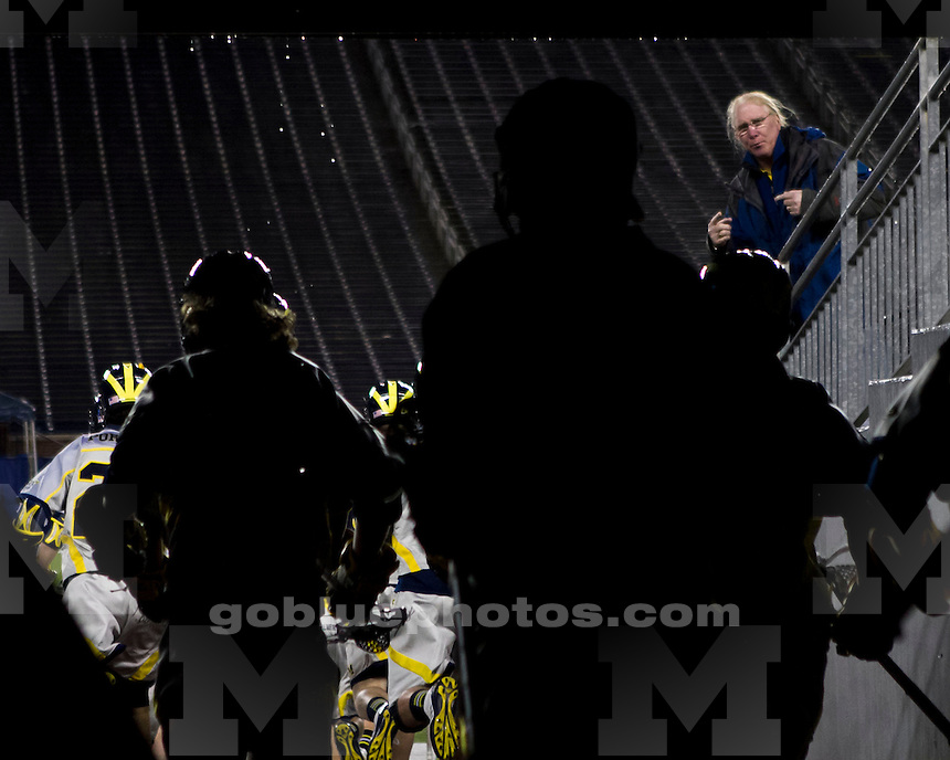 The University of Michigan men's lacrosse was trailing Detroit, 4-3, when play was suspended with 6:42 left in the second quarter (the game was later canceled) at Michigan Stadium in Ann Arbor, Mich., on April 17, 2013.