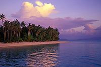 Ocean and beach at sunset. Bora Bora, Tahiti