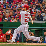 7 April 2016: Washington Nationals infielder Daniel Murphy hits a 3-RBI, bases-loaded triple, in the first inning of the Nationals' Home Opening Game against the Miami Marlins at Nationals Park in Washington, DC. The Marlins defeated the Nationals 6-4 in their first meeting of the 2016 MLB season. Mandatory Credit: Ed Wolfstein Photo *** RAW (NEF) Image File Available ***