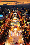 Snow and ice sculptures are illuminated along the main street of Sapporo City, northern Japan. Around 2 million people visit the city to see the hundreds of hand-crafted snow and ice sculptures that have graced the Sapporo Snow and Ice Festival since its inception in 1950.