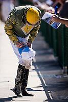 OLDSMAR, FLORIDA - FEBRUARY 11: Ronnie Allen Jr. signs an autograph after a race, at Tampa Bay Downs on February 11, 2017 in Oldsmar, Florida (photo by Douglas DeFelice/Eclipse Sportswire/Getty Images)