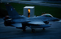 Ground crew in container next to Lockheed Martin F-16 Fighting Falcon Lockheed Martin F-16 Fighting Falcon from 115CW7340 Squadron, Greek Air Force. BOLD AVENGER 2007 (BAR 07), a NATO  air exercise at Ørland Main Air Station, Norway. BAR 07 involved air forces from 13 NATO member nations: Belgium, Canada, the Czech Republic, France, Germany, Greece, Norway, Poland, Romania, Spain, Turkey, the United Kingdom and the United States of America. The exercise was designed to provide training for units in tactical air operations, involving over 100 aircraft, including combat, tanker and airborne early warning aircraft and about 1,450 personnel.