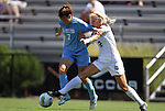 11 September 2011: North Carolina's Kealia Ohai (7) and Texas A&M's Rachel Lenz (2). The Texas A&M Aggies defeated the University of North Carolina Tar Heels 4-3 in overtime at Koskinen Stadium in Durham, North Carolina in an NCAA Division I Women's Soccer game.