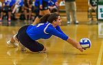 1 November 2015: Yeshiva University Maccabee Setter and Defensive Specialist Emily Rohan, a Senior from Dallas, TX, digs against the Saint Joseph College Bears at SUNY Old Westbury in Old Westbury, NY. The Bears shut out the Maccabees 3-0 in NCAA women's volleyball, Skyline Conference play. Mandatory Credit: Ed Wolfstein Photo *** RAW (NEF) Image File Available ***