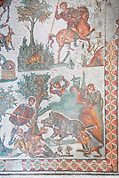 Hunters about to spear a hare an spearing a wild boar from the Room of The Small Hunt, no 25 - Roman mosaics at the Villa Romana del Casale which containis the richest, largest and most complex collection of Roman mosaics in the world, circa the first quarter of the 4th century AD. Sicily, Italy. A UNESCO World Heritage Site.
