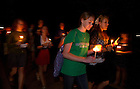 September 11, 2011; A candlelight procession of students and guests make their way to the Grotto following the mass of remembrance for the 911 attack victims at the University of Notre Dame. Photo by Barbara Johnston/University of Notre Dame