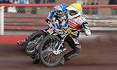 Heat 13: Peter Klindemand (yellow) and Km Nilsson (blue) - Lakeside Hammers vs Swindon Robins at the Arena Essex Raceway, Pufleet - 18/06/12 - MANDATORY CREDIT: Rob Newell/TGSPHOTO - Self billing applies where appropriate - 0845 094 6026 - contact@tgsphoto.co.uk - NO UNPAID USE..