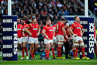 Wales players stand under the posts after conceding a penalty. RBS Six Nations match between England and Wales on March 12, 2016 at Twickenham Stadium in London, England. Photo by: Patrick Khachfe / Onside Images