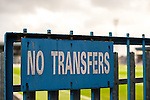 Rochdale 2 Bury 0, 15/10/2016. Spotland Stadium, League One. A 'no transfers' sign at Spotland Stadium. Rochdale make it six successive League One wins with a derby triumph against neighbours Bury.<br />