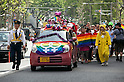 April 29, 2012, Tokyo, Japan -  A car decorated with the rainbow flag leads the parade during Tokyo Rainbow Pride 2012. This march started from Yoyogi Park and went around the Harajuku area.  (Photo by Rodrigo Reyes Marin/AFLO) (JAPAN)   .
