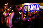People celebrate  in support of President-elect Barack Obama on election day early Wednesday, Nov. 5, 2008 in the Harlem section of New York. Photo by Eyal Warshavsky .