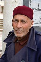 Derna, Libya - Libyan Man wearing Tunisian Chechia (Hat)