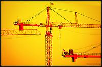 Multiple construction cranes, S.Lk. Union, Seattle
