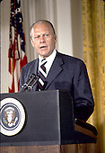 United States President Gerald R. Ford makes remarks after being sworn-in as President at the White House in Washington, D.C. on August 9, 1974.  Ford was the first person to serve as President who had not been elected.<br /> Credit: Arnie Sachs / CNP