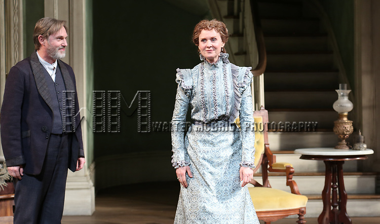 Richard Thomas and Cynthia Nixon during the Broadway Opening Night Curtain Call bows for 'The Little Foxes' at Samuel J. Friedman Theatre on April 19, 2017 in New York City.