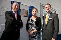 Pictured at the launch of the new Sheffield Train Station Cycle Hub from left are Philip Darnton, Chair of the Cycle Rail Working Group, Baroness Susan Kramer and  David Horne, MD of East Midlands Trains