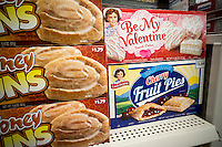 A selection of Little Debbie brand cakes, including their seasonal Valentine's Day product, in the grocery department in a store in New York on Saturday, January 14, 2017.  (© Richard B. Levine)