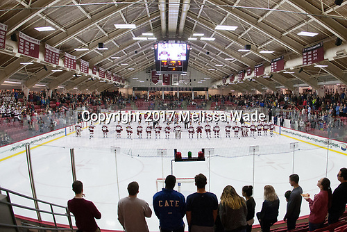 - The Harvard University Crimson defeated the St. Lawrence University Saints 6-3 (EN) to clinch the ECAC playoffs first seed and a share in the regular season championship on senior night, Saturday, February 25, 2017, at Bright-Landry Hockey Center in Boston, Massachusetts.