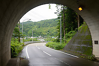 The road leading to Kamikatsu, Katsuura, Tokushima Prefecture, Japan, July 7, 2014. The Irodori Project is based in the mountain town of Kamikatsu, Tokushima Prefecture. Farmers - many of them elderly - grow leaves and flowers to use to decorate Japanese food in restaurants and hotels across the nation.