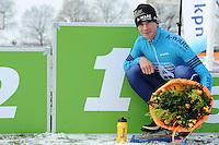 SCHAATSEN: NOORDLAREN: 18-01-2017, IJsvereniging De Hondsrug, de eerste marathon op natuurijs van 2017, winnaar Simon Schouten, ©foto Martin de Jong
