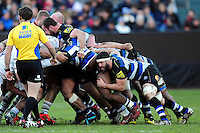 Guy Mercer of Bath Rugby in action at a scrum. Aviva Premiership match, between Bath Rugby and London Irish on March 5, 2016 at the Recreation Ground in Bath, England. Photo by: Patrick Khachfe / Onside Images