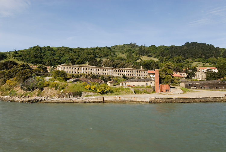 Fort McDowell, Angel Island State Park, in San Francisco Bay, CA, California.  People disembark and picnic at Ayala Cove, then hike, bike, or tram perimeter road, with stops at Civil War era Camp Reynolds, and its restored officer house, or Spanish American War era Fort McDowell..Photo camari254-70495..Photo copyright Lee Foster, www.fostertravel.com, 510-549-2202, lee@fostertravel.com.