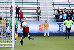 07 November 2010: Wake Forest's Aubrey Bledsoe makes the championship winning save in the penalty kick shootout on an attempt by Maryland's Domenica Hodak (not pictured). The Wake Forest University Demon Deacons defeated the University of Maryland Terrapins 3-1 on penalty kicks after the game ended in a 1-1 tie after overtime at WakeMed Stadium in Cary, North Carolina in the ACC Women's Soccer Tournament championship game.