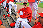 7 March 2012: Washington Nationals outfielder Bryce Harper in the dugout with teammates during a game against the St. Louis Cardinals at Space Coast Stadium in Viera, Florida. The teams battled to a 3-3 tie in Grapefruit League Spring Training action. Mandatory Credit: Ed Wolfstein Photo