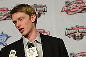 Caroina Hurricanes captain and All-Star captian Eric Staal talks to the media prior to the All-Star Fantasy Draft at the Raleigh Convention Center Raleigh, NC, 1/28/2011.